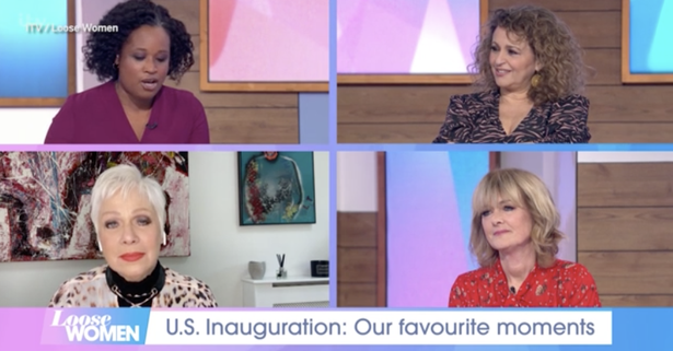 Denise Welch collapsed when Loose Women co-star Charlene White talked about the inauguration ceremony.