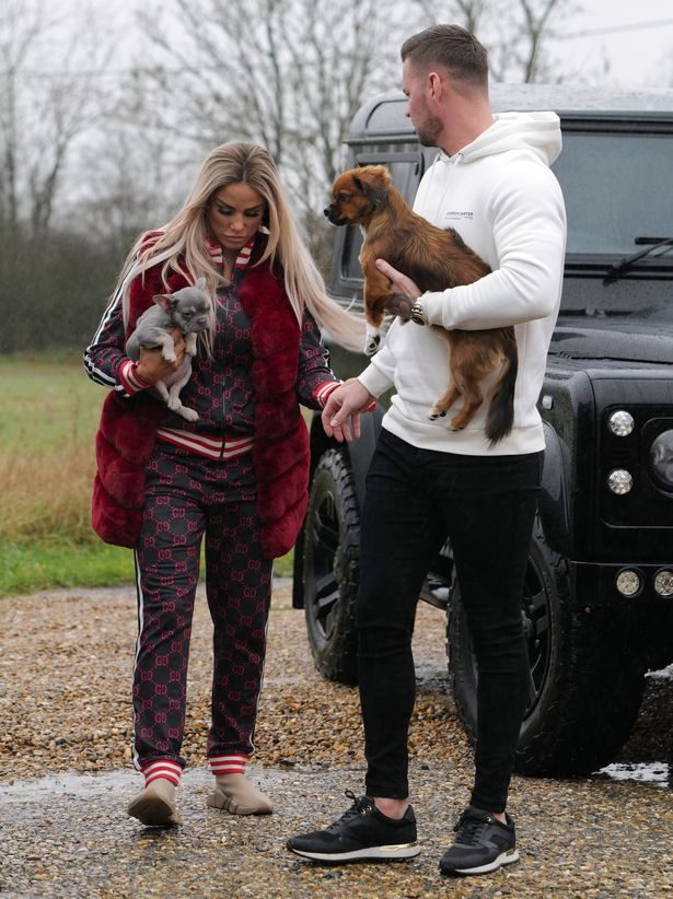 Katie Price & Carl Woods takes two pet poop (Precious & Sid) to the dog hairdresser.