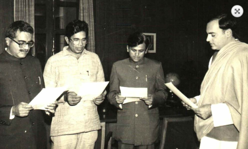 Ahmed Patel, Arun Singh and Oscar Fernandes are sworn in as parliamentary secretaries to Prime Minister Rajiv Gandhi