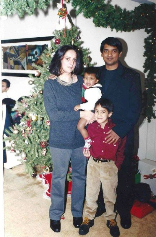 An old photo of Floyd Cardoz with his family