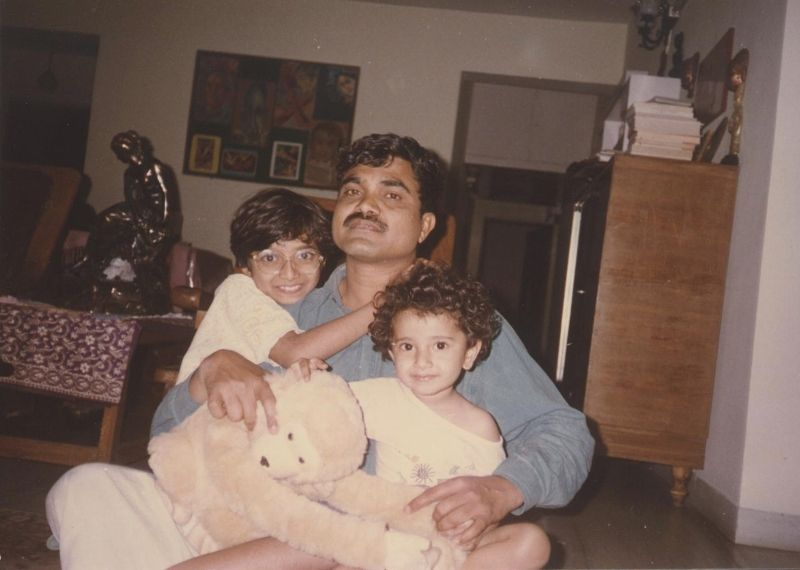 Anand Teltumbde with his daughters, Prachi and Rashmi