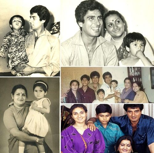 A collage of old photographs of Raj Babbar with his family
